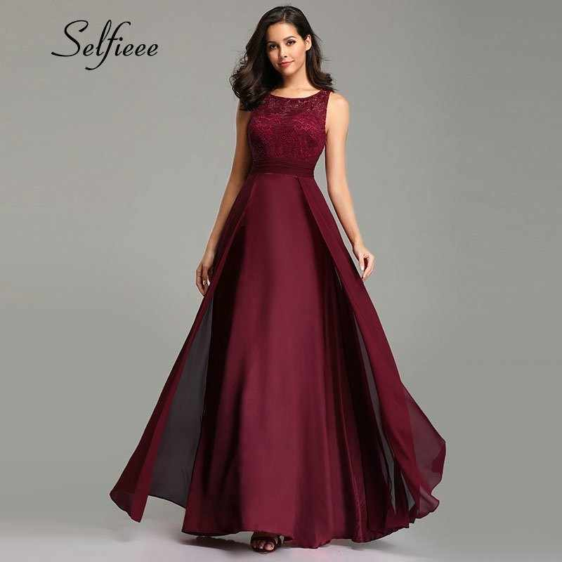 New Year Women Dresses Long 2019 Sexy A-line Sleeveless O-neck Chiffon Lace Summer Beach Dress Elegant Burgundy Party Gowns