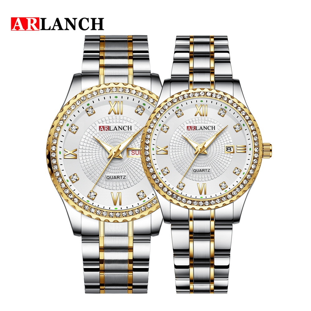 ARLANCH New Style Couple Lovers Romantic Diamond Luxury Wristwatch Week Calendar Stainless Steel Waterproof Students Watches