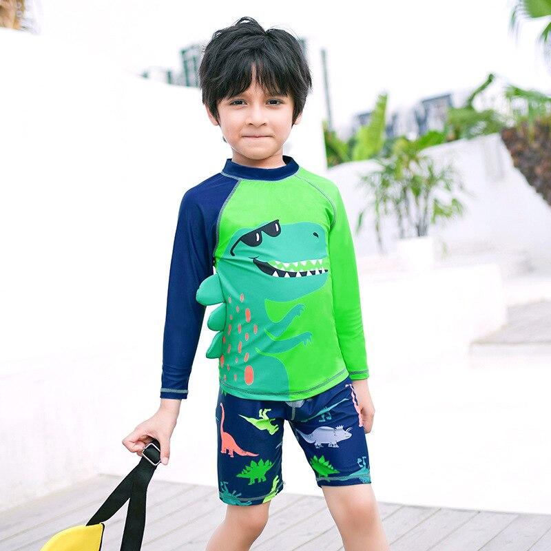 Korean-style Cute Dinosaur Split Type Two-Piece Set Boxer BOY'S Swimsuit Mixed Colors CHILDREN'S Suit Small Children Long Sleeve