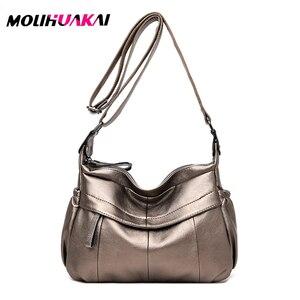 Image 2 - MOLIHUAKAI Soft Leather Women Messenger Bag Casual Womens Shoulder Crossbody bag Female Handbag Black Bolsa Feminina Girl Bags