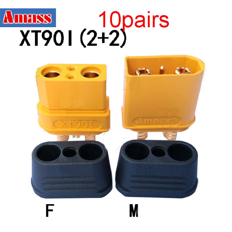 10Pairs High Current Amass XT90I Plug XT902+2 Gold Plated Connector Male Female for RC Aircraft UAV Drone Battery ESC DIY Acc