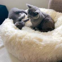Round Dog Bed Warm Long Plush Dog Cat Beds Round Pet Lounger Cushion For Small Medium Dogs Cat Winter Kennel Puppy Mat Pet Bed(China)