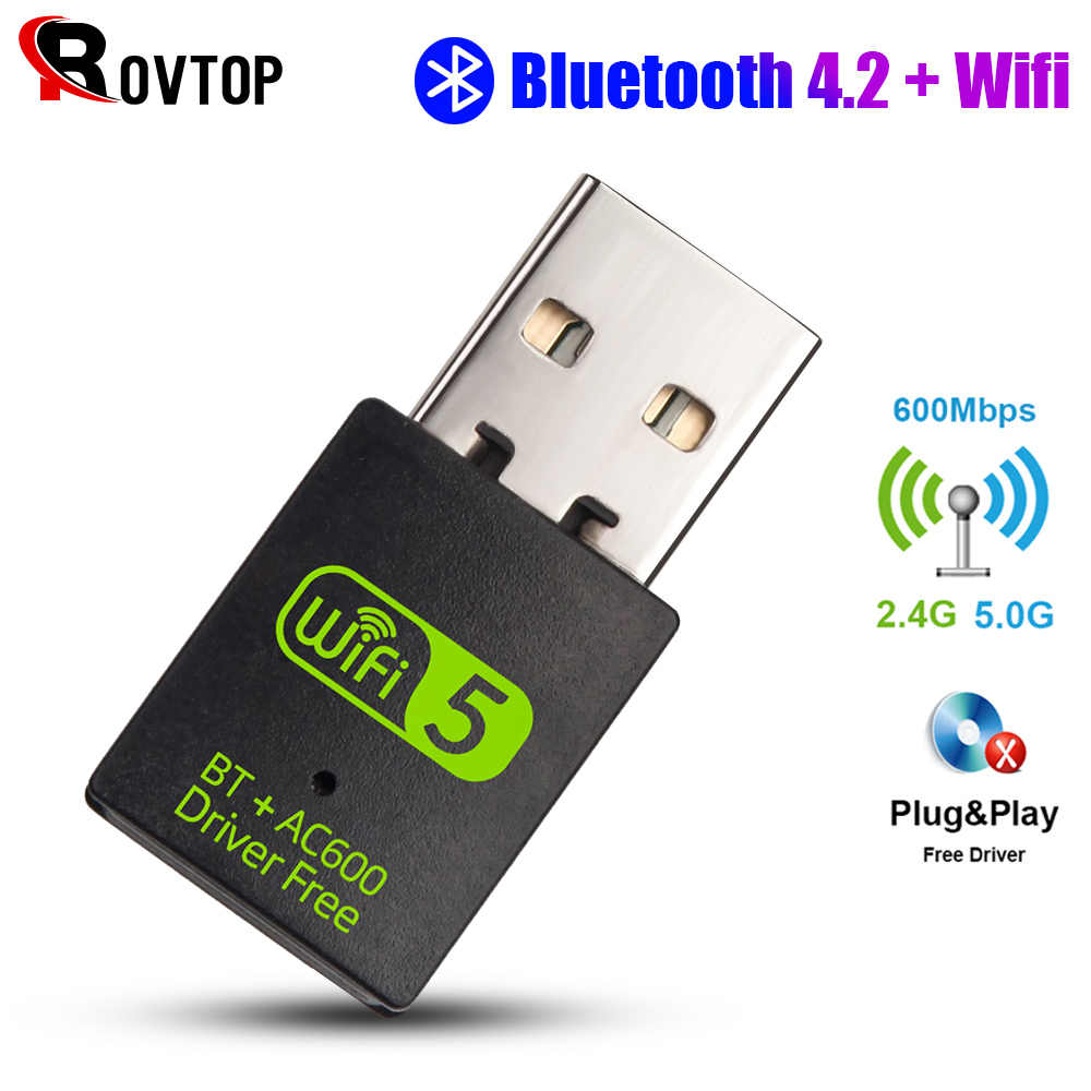 2 In 1Bluetooth 4.2 En Wifi Adapter 600Mbps Wi-fi Adapter 5Ghz Antenne Usb Ethernet Pc Wifi dongle Ac Wifi Ontvanger Gratis Driver