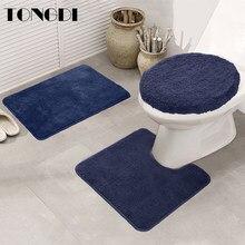 Tongdi almofada para banheiro, tapete de camurça macia absorvente para banheiro, antiderrapante, decoração para banheiro