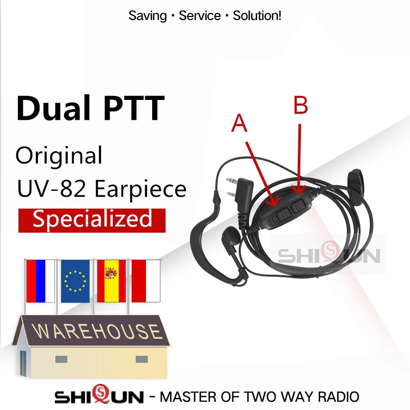 Dual PTT Earpiece For Baofeng UV-82 UV-8 UV82L UV-89 UV 82 UV-82 Plus UV-82TP GT-5TP UV-82HP UV-82HX Acoustic Headset UV-8D