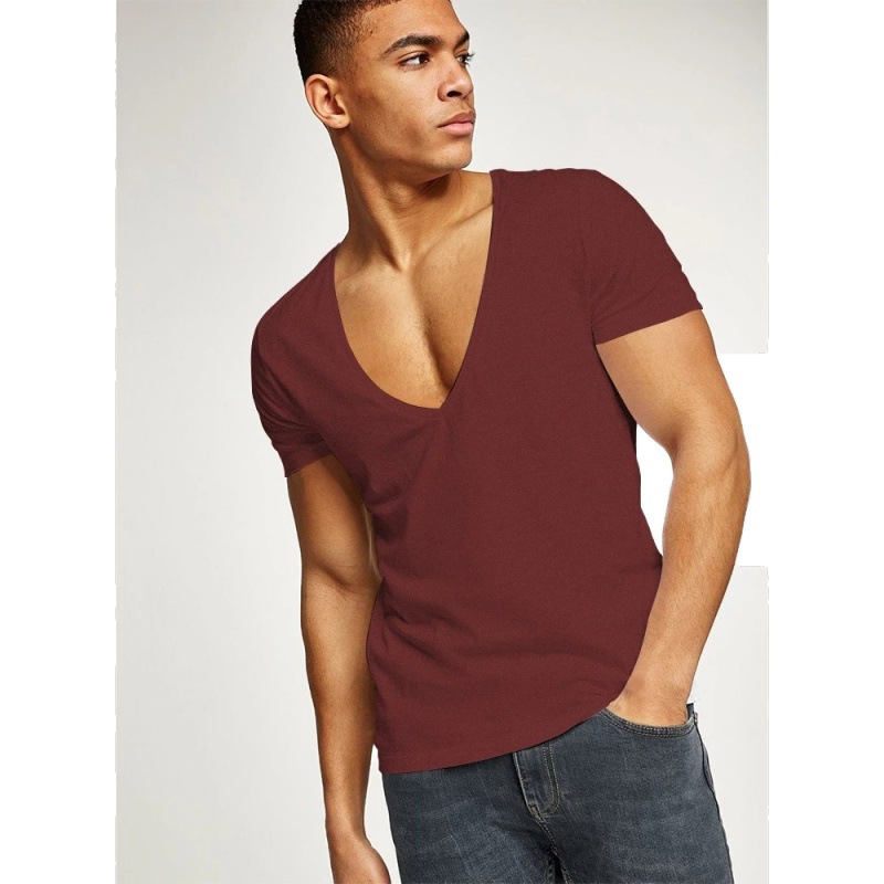 2020 Summer New Products Men's Leisure Combed Cotton Deep V-neck T-shirt Male High Quality Classical Tops