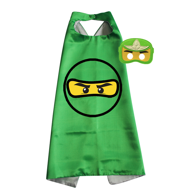 Ninja Costume Childrens Capes with Felt Masks Christmas Easter Halloween Birthday Party Cloak(China)