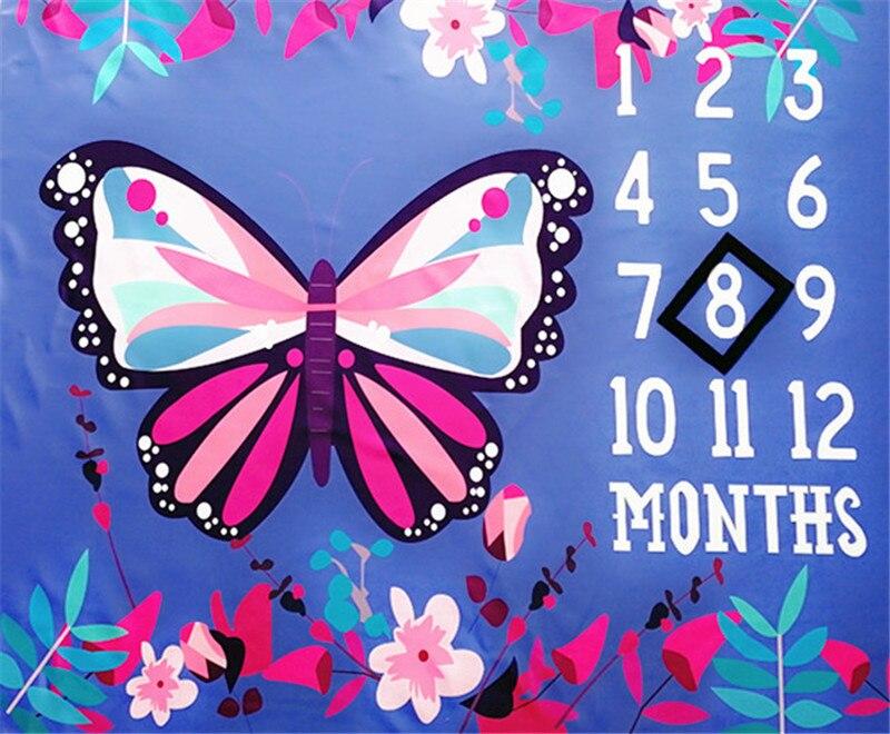 Healifty Manta Fondo Fotografia para Bebe de Algod/ón de Mariposa Regalo de Bautizo para Bebe