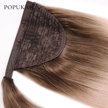 Popukar 2020 new arrival 14-28inch 100g colored ombre 2 tone  peruvian human hair ponytail straight