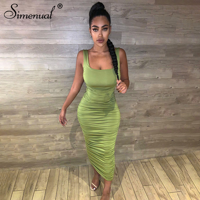 Simenual Ruched Solid Sexy Bodycon Party Dresses Women Fashion Sleeveless Skinny Clubwear Basic Hot Midi Dress 2020 Slim Female 3