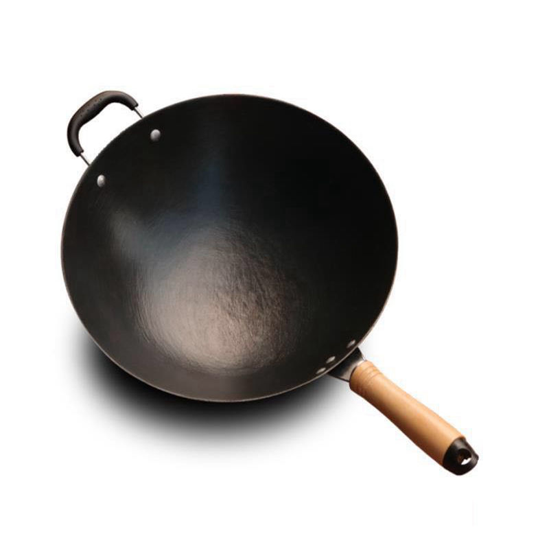 Cast Iron Wok Home Uncoated Manual Non-stick Pan Round Bottom Induction Cooker Gas Stove Wok Frying Pan  Cooking  Non Stick Pan