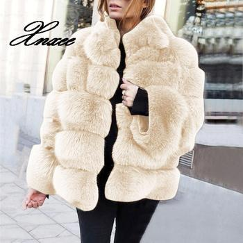 Xnxee Winter Coat Women Faux Coat Plus Size Women Stand Collar Long Sleeve Faux Fur Jacket Fur duoupa 2019 new fashion faux fur grain velvet coat coat long loose fur one coat faux fur large size women s fur windbreaker jack