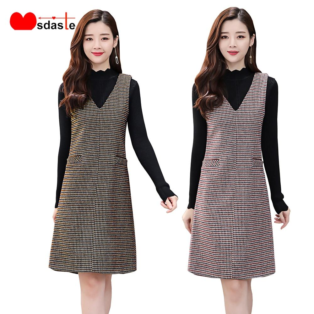 US $20.20 20% OFFPlaid Ärmel Woolen Frauen Kleider Herbst Winter Tragen  Damen V ausschnitt Vintage Kleid Weste Plus Größe Neue Dünne Büro Dame