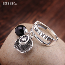 925 Sterling Thai Silver Black Agate Lucky Ring Original Design Vintage Cute Charm Open Rings Fine Jewelry For Women