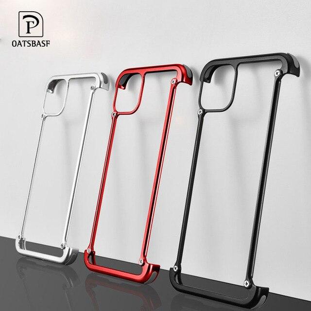 Funda de teléfono para Iphone 11 11pro 11pro max, bolsa de aire de lujo con marco de Metal, a prueba de golpes, original, Bumper Back Bover