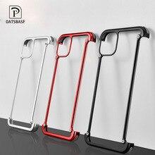 Telefoon Case Voor Iphone 11 11pro 11pro Max Luxe Metalen Frame Vorm Met Airbag Schokbestendig Originele Case Bumper Terug Bover