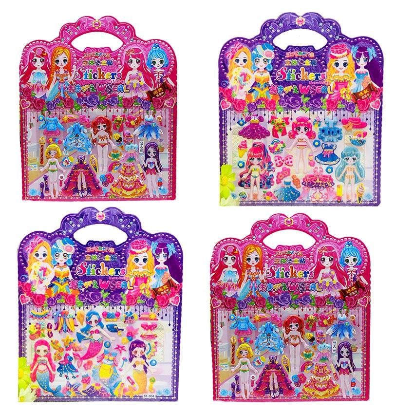10 pçs/lote diy bonito princesa vestir-se 3d adesivo brinquedo para a menina dos desenhos animados moda anime kawaii bolha adesivos brinquedos presente de natal