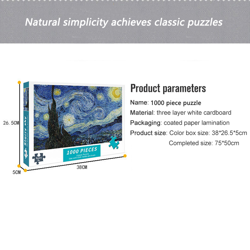 Puzzles for Adults 1000 Pieces Paper Jigsaw Puzzles Educational Intellectual Decompressing DIY Large Puzzle Game Toys Gift 3