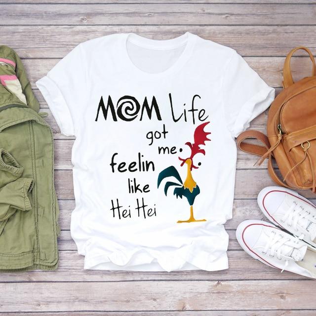 Women Cartoon Super Mom Life Summer Print Lady T-shirts Top Tee Ladies Graphic 3