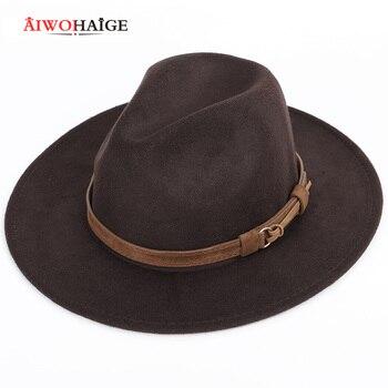 2021 Autumn winter men's fedoras women's felt hat Ladies sombrero jazz Male bowler hat outdoor vintage top hats large size