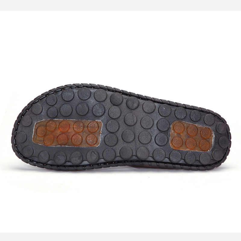 ホット販売サンダル男性靴の夏のスリッパメンズ本物の牛革サンダル黒ビーチスリッパ Sandalias Hombre Sandale オム