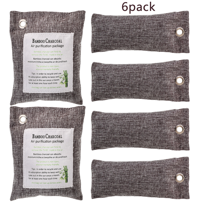 6Pack Naturally Activated Bamboo Charcoal Air Purifying Bag Odor Neutralizer Car Offices Supplies
