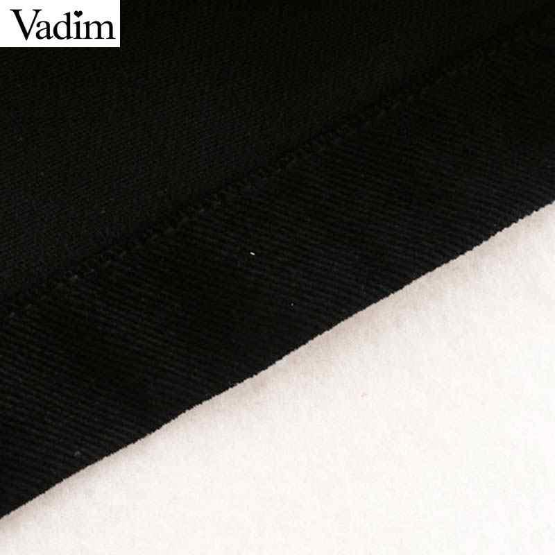 Vadim נשים אלגנטי מוצק חולצה שמלת ארוך פאף שרוול להנמיך צווארון נשי שיק אופנה מיני שמלות vestidos QC849