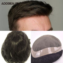 French Lace PU Men Toupee Human Hair Wig Straight Indian Remy Hair System Men Hairpiece Jet Black Pre Plucked Hairline 6inch