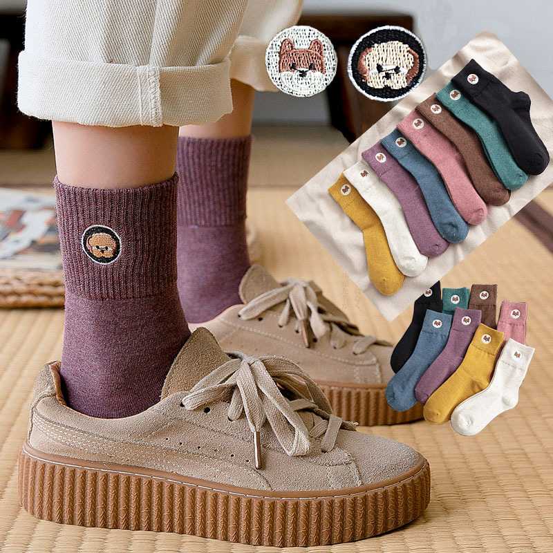 Woman Socks 2019 Autumn New Creative Cartoon Socks Women Trend Embroidry  Breathable Deodorant Comfortable Cotton Long Socks