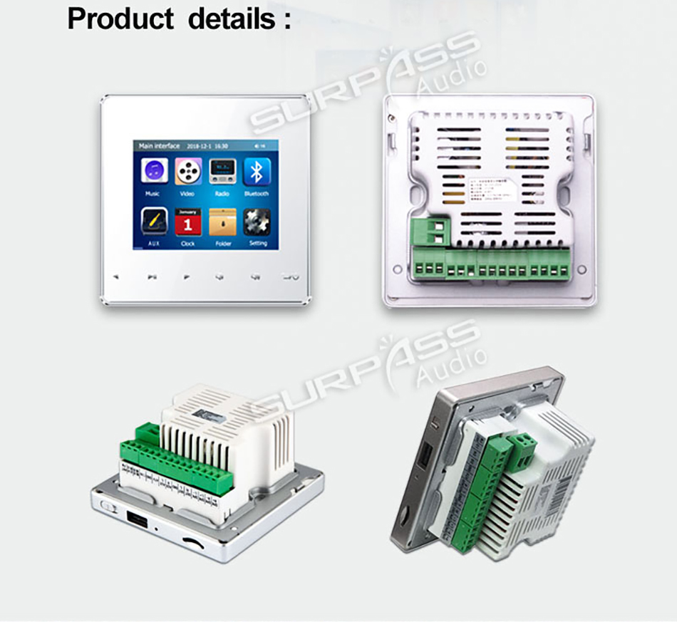 Maison intelligente pro Audio fond HiFi musique Mini mur amplificateur système TV touche tactile numérique stéréo musique bluetooth lecteur RS485 - 4