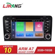 LJHANG 7 дюймов Android 10 автомобильный dvd-плеер для AUDI A3 S3 2002-2013 Мультимедиа gps навигация 2 Din автомагнитола стерео автоаудио RDS