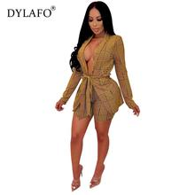 цена Hot Selling Blazer Two-piece Blazer Set Women Office Set 2 Pieces Work Blazer and Shorts Female Coat V Neck Sexy Chic Suit онлайн в 2017 году