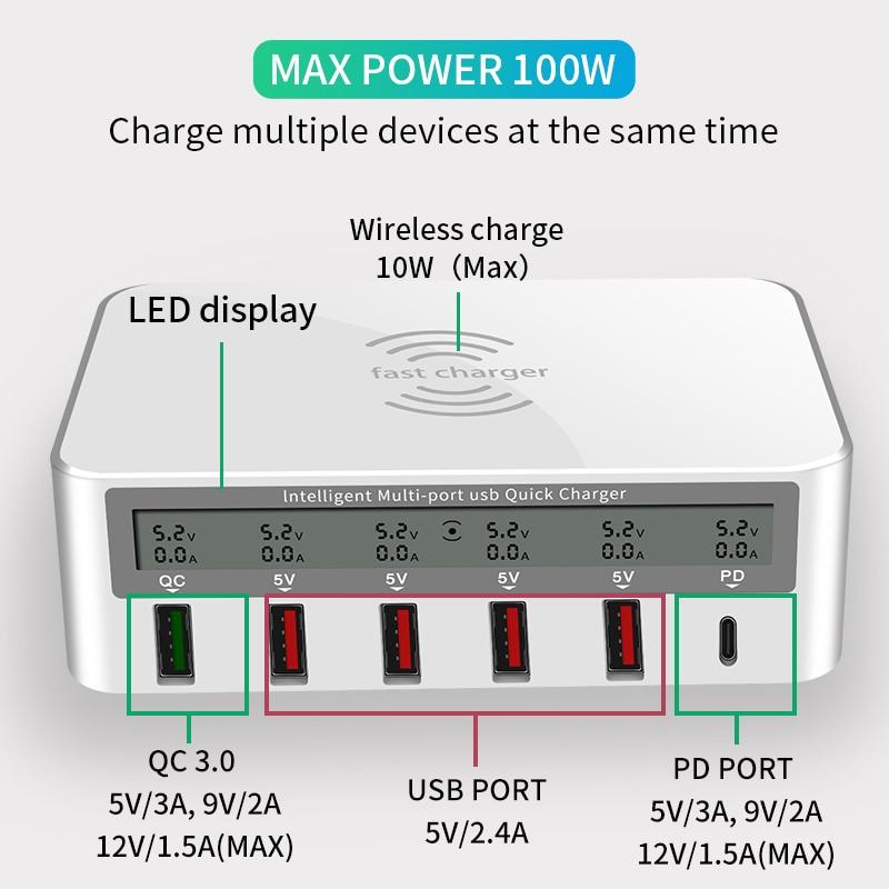 IHaitun 100W sans fil PD Type C QC3.0 USB chargeur LED affichage Station de quai rapide voyage Charge rapide 3.0 QC 4.0 pour iPhone 11 Pro - 5