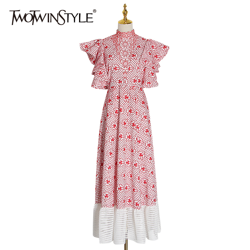 TWOTWINSTYLE Embroidery Patchwork Winter Dress Women Stand Collar Butterfly Sleeve High Waist Hollow Out Ladies Dresses Clothing