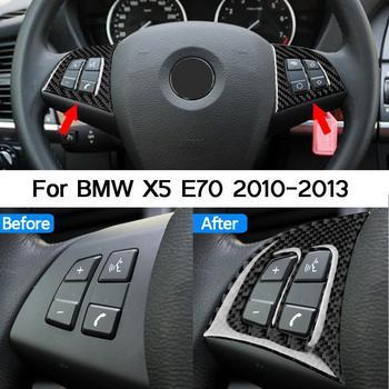 1 Pair True Carbon Fiber Car Steering Wheel Button Sticker For BMW X5 E70 2010 2011 2012 2013 Styling
