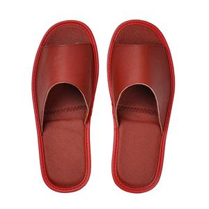 Image 5 - Genuine Cow Leather slippers couple indoor non slip men women home fashion casual single shoes TPR soft soles spring summer