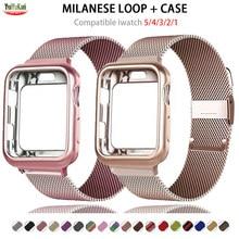 Funda y correa para Apple Watch 6, banda de 44mm, 40mm, 42mm y 38mm, correa de Metal, pulsera de reloj magnética, Apple Watch series 5 4 3 SE