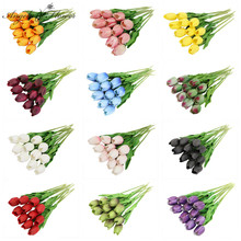 11PCS PU Tulip Branch Artificial Flower Real Touch Flower Bouquet Decor For Home Table Wedding Party Display Photo Props Gifts