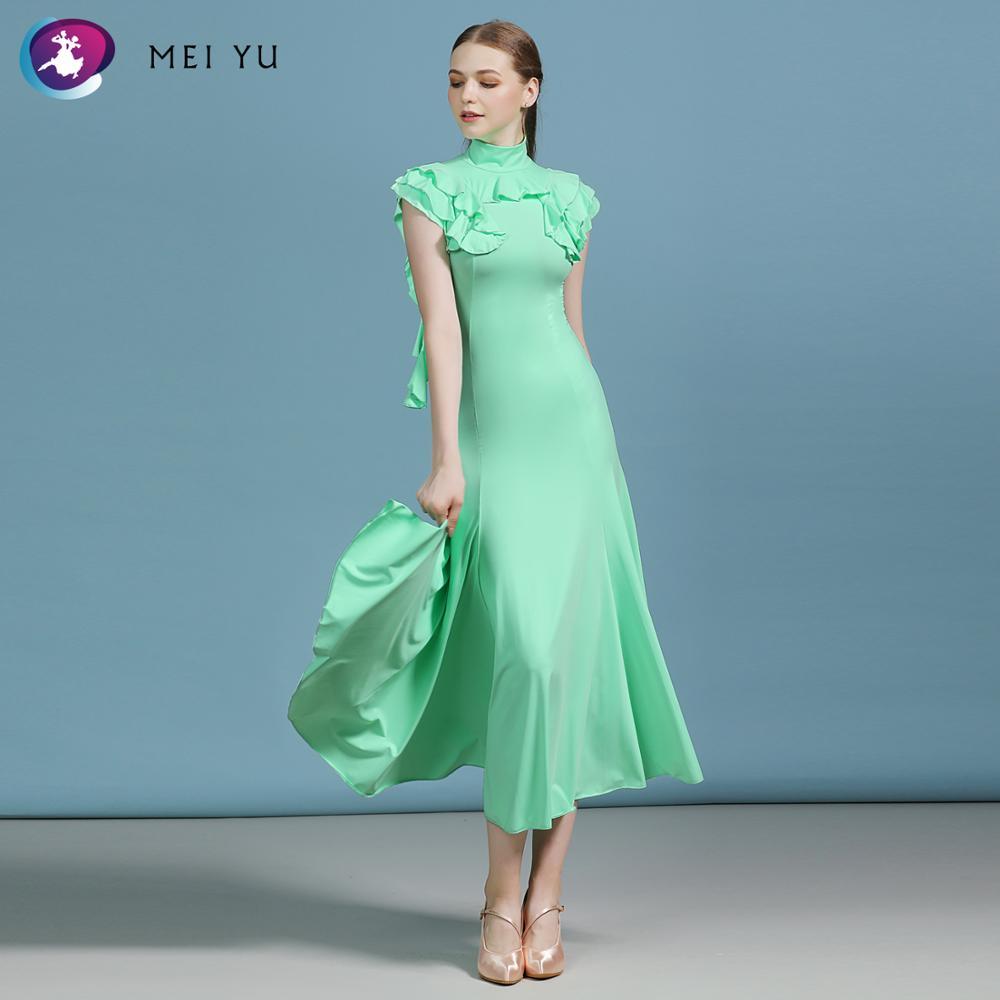 MEI YU MY812 Modern Dance Costume Women Ladies Adults Dancewear Waltzing Tango Ruffled Ballroom Costume Evening Party Dress