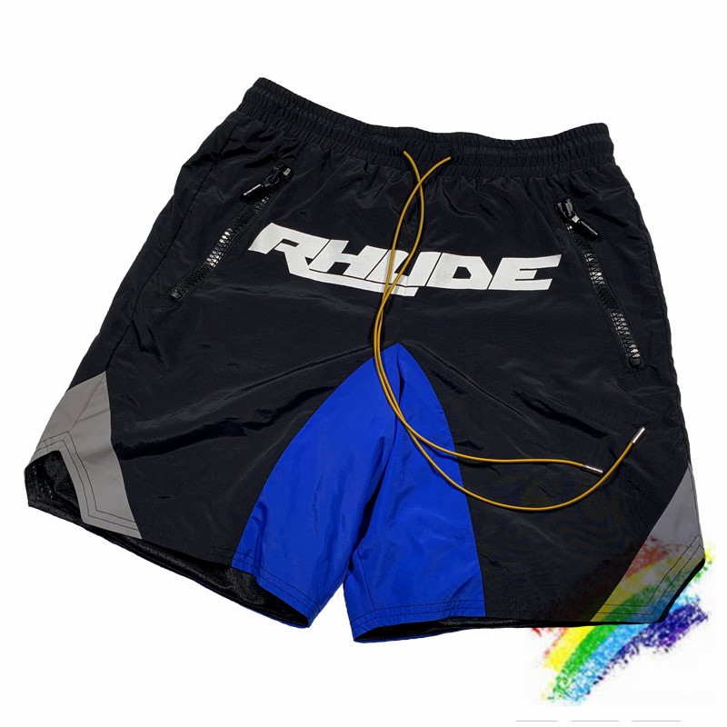 3M Reflective Rhude Shorts Hip-Hop Black Blue 1:1 High-Quality RHUDE Mens Shorts Yellow Drawstring Zip Pocket RHUDE Shorts