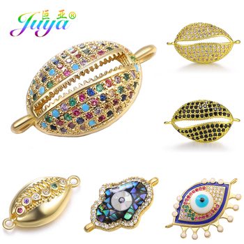 Juya DIY Jewelry Material Supplies Micro Pave Zircon Hamsa Evil Eye Shell Cowrie Charm Connector For Bracelets Earrings Making