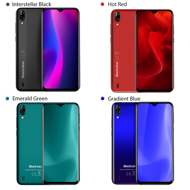 Blackview A60 4080mAh Smartphone Quad Core Android 8.1 Cellphone 6.1 inch 19.2:9 Screen Dual Camera 1GB+16GB Mobile Phone 6