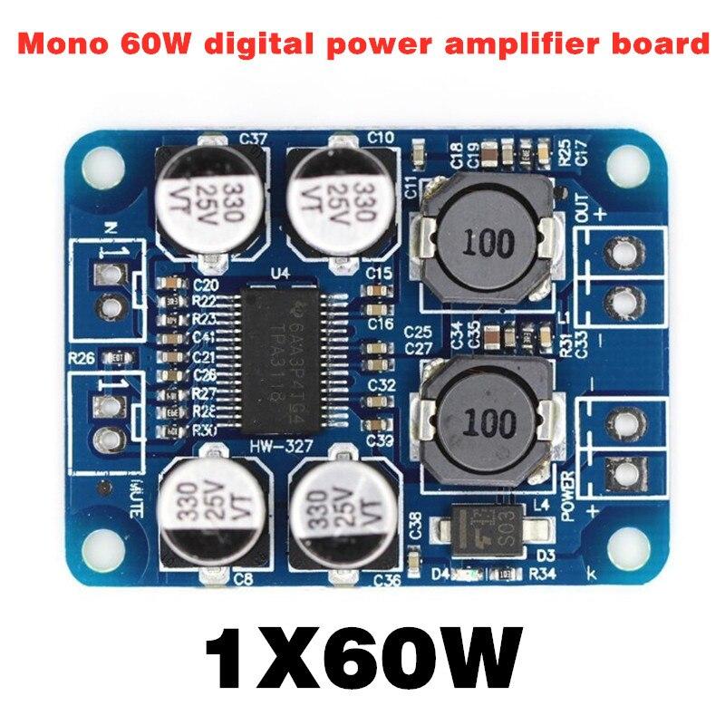 Dc 8-24V  Digital Power Amplifier Board Mono 1* 60W Digital Power Amplifier Board For Speaker Modification
