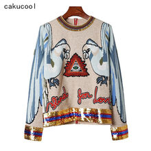 Cakucool frezowanie bluzki z dzianiny damskie z długim rękawem O-neck cekinowe swetry Runway Design Embroid sweter z dzianiny swetry damskie(China)