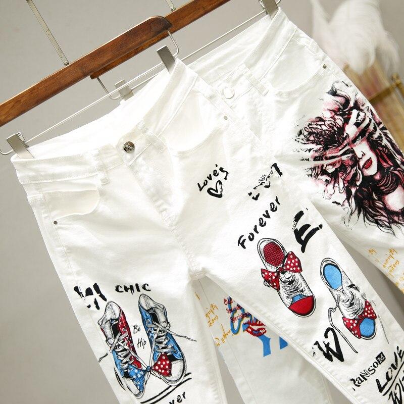 White Jeans Skinny Denim Pants Women Summer Autumn New Harajuku Style Print High Waist Pencil Pants Girls Ladies Plus Size Jeans
