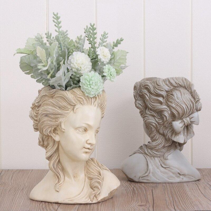 Resina de plantas suculentas vaso de flores na cabeça de elegante deusa Grega bonsai plantador de vasos de jardim mão artesanato casa decoração de mesa