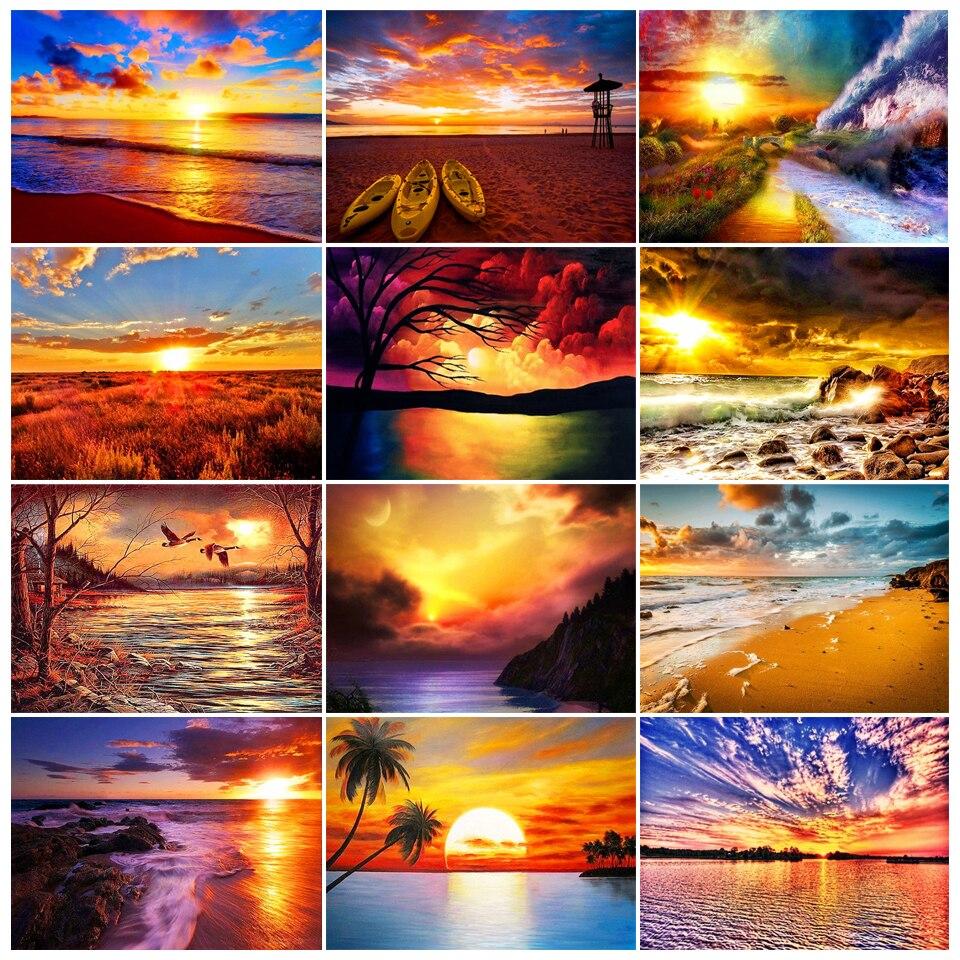 """5D DIY elmas boyama """"günbatımı deniz"""", peyzaj takım elbise, çapraz dikiş kiti, elmas nakış mozaik resim, ev dekorasyon"""