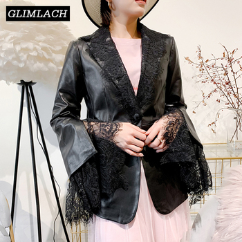 Lambskin Leather Jacket | New Women Elegant Lace Spliced Lambskin Real Leather Blazer Jacket Slim Luxury Genuine Leather Coat Office Lady Casual Clothes