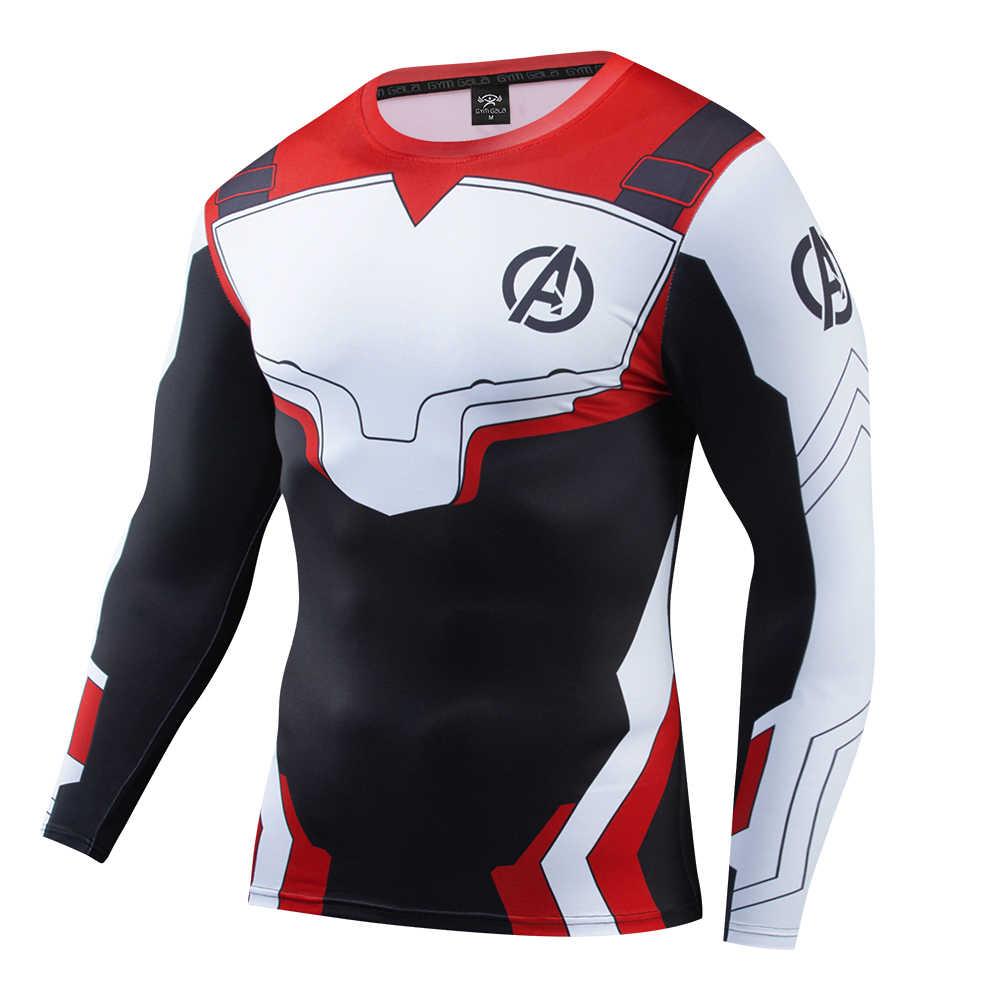 Marvel 3D Ironman กัปตันกล้ามเนื้อ Tees FashionSuperhero เสื้อผ้าเสื้อแขนยาวฟิตเนสชายชุดกระชับด่วนแห้ง t เสื้อ