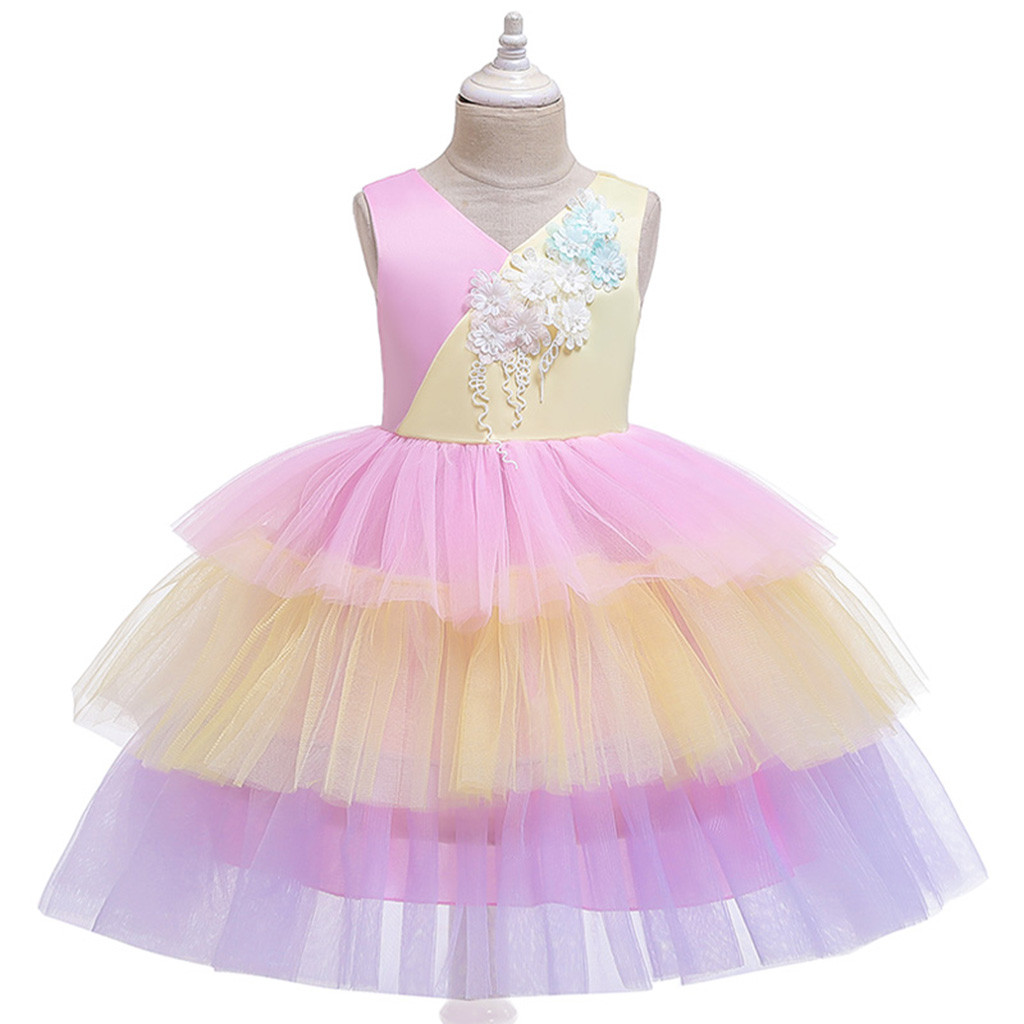 Kinder Kleid Mädchen Splice Prinzessin Brautjungfer Pageant Kleid Geburtstag Party Hochzeit Kleid ropa recien nacido vetement enfant fille